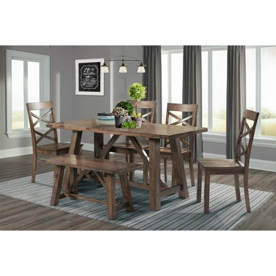 6pc Regan Dining Set Table, 4 Side Chairs and Bench Walnut Brown - Picket House Furnishings