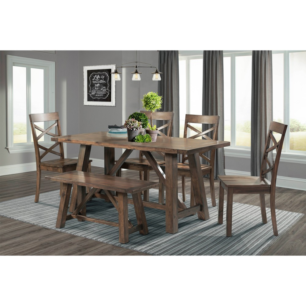Regan 6pc Dining Set Table, 4 Side Chairs And Bench Walnut Brown - Picket House Furnishings