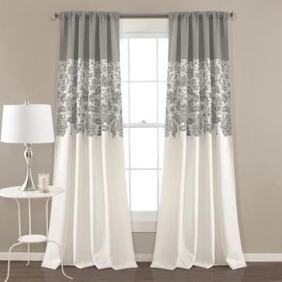 Set of 2 Estate Garden Print Room Darkening Window Curtain Panels - Lush Décor