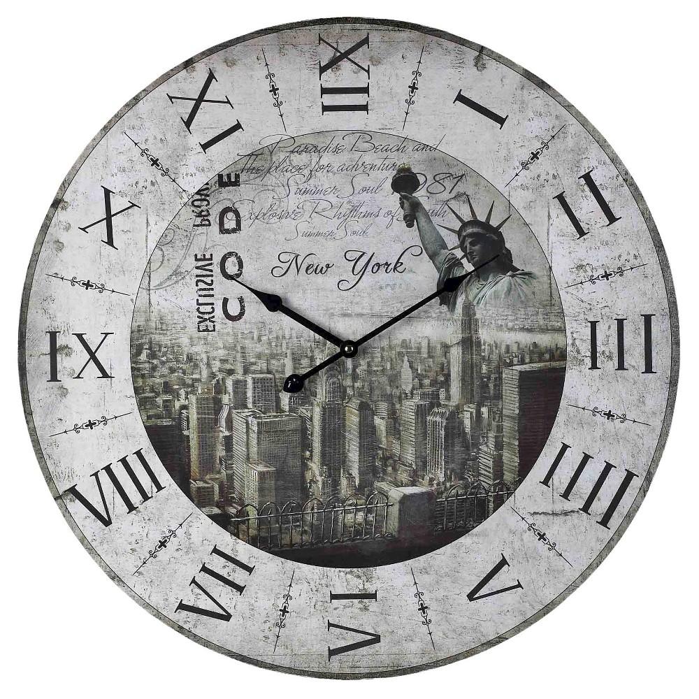 New York 24 Printed Wall Clock Gray - Lazy Susan