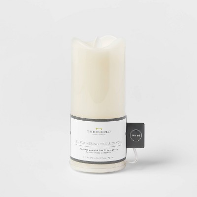 "7"" x 3"" LED Flickering Flame Candle Cream - Threshold™"