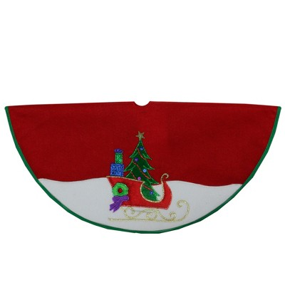 "Northlight 20"" Red and White Loaded Sleigh in the Snow Mini Christmas Tree Skirt"