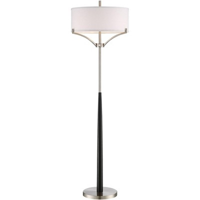360 Lighting Modern Floor Lamp Black and Brushed Steel Column White Linen Drum Shade for Living Room Reading Bedroom Office
