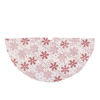 "Northlight 20"" White and Red Glitter Snowflake Mini Burlap Christmas Tree Skirt"