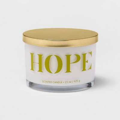 15oz Lidded Glass Jar HOPE 3-Wick Candle Sunrise Greens - Opalhouse™