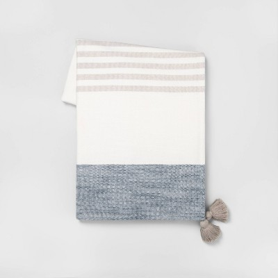 Stripe Gauze Throw Blanket Blue - Hearth & Hand™ with Magnolia