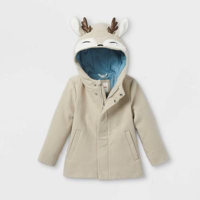 Toddler Girls' Faux Wool Coat - Cat & Jack™ Tan