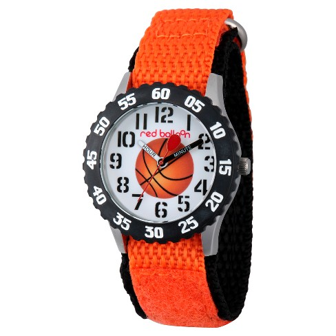 Boys' Red Balloon Stainless Steel Time Teacher Watch - Orange - image 1 of 2