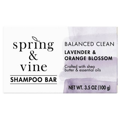 Spring & Vine Lavender & Orange Blossom Balanced Clean Shampoo Bar - 3.5oz