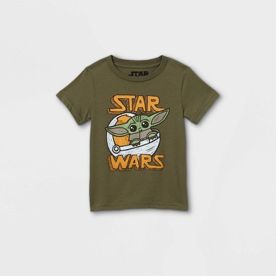 Toddler Boys' Star Wars Baby Yoda Short Sleeve Graphic T-Shirt - Olive Green