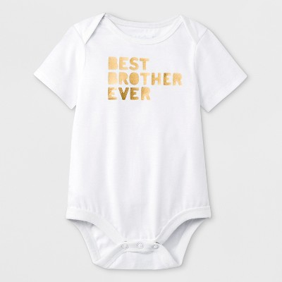 Baby Boys' Short Sleeve 'Best Brother Ever' Graphic Bodysuit - Cat & Jack™ White 0-3M