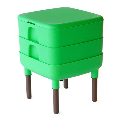 FCMP Outdoor Essential Living 6 Gallon UV Protected Plastic Worm Composter Bin Storage Container Box with 2 Trays for Garden and Home, Green
