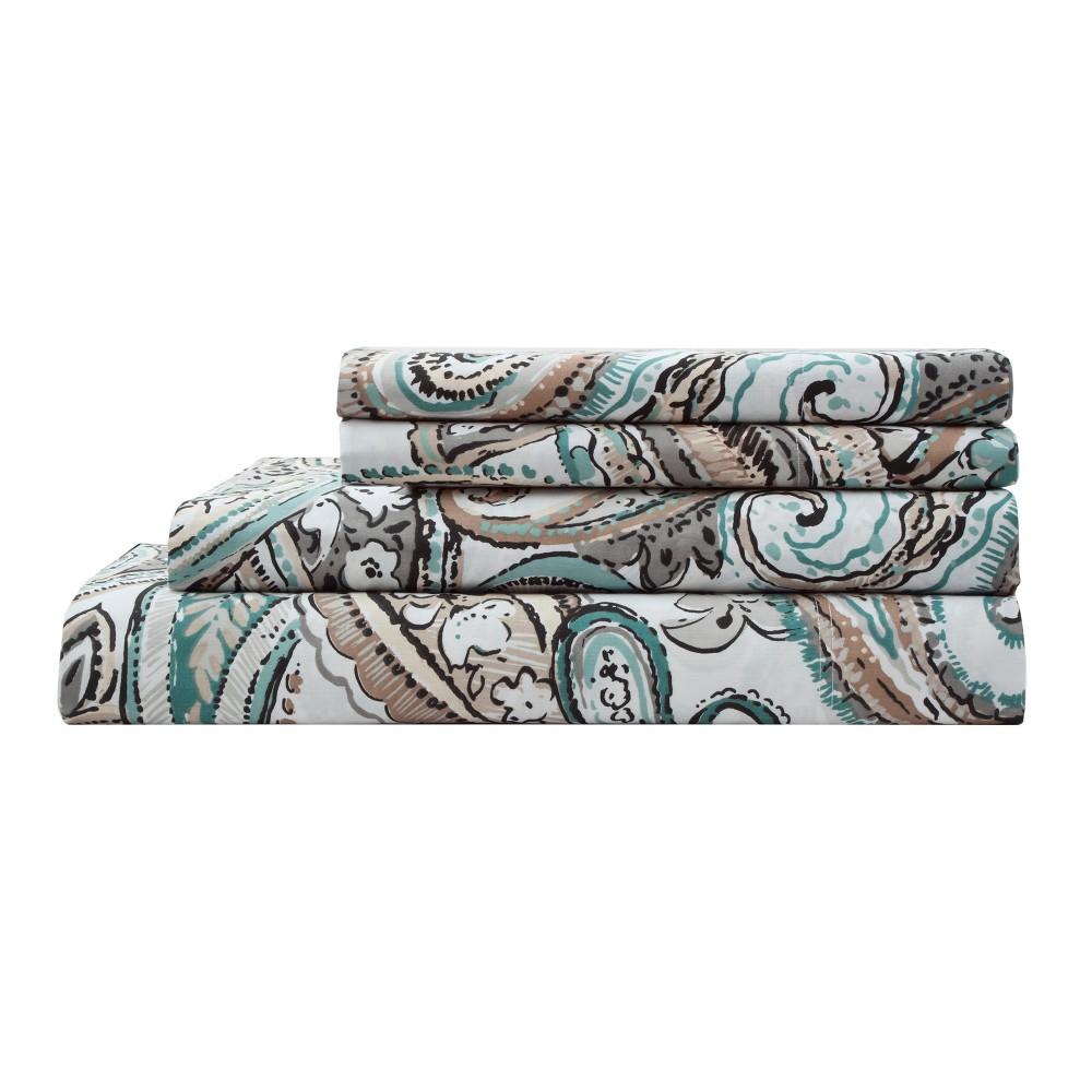 Elite Home Elisha Cotton Printed Sheet Set California King Tan 300 Thread Count
