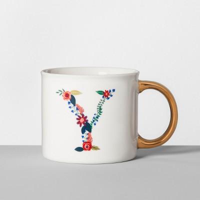 Monogrammed Porcelain Floral Mug Y 16oz White/Gold - Opalhouse™