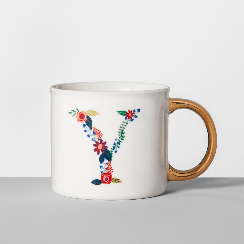 Monogrammed Porcelain Floral Mug Y 16oz White/Gold - Opalhouse, Gold White