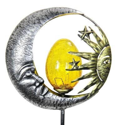 """38"""" Metal Solar Sun and Moon Garden Stake - Exhart"""