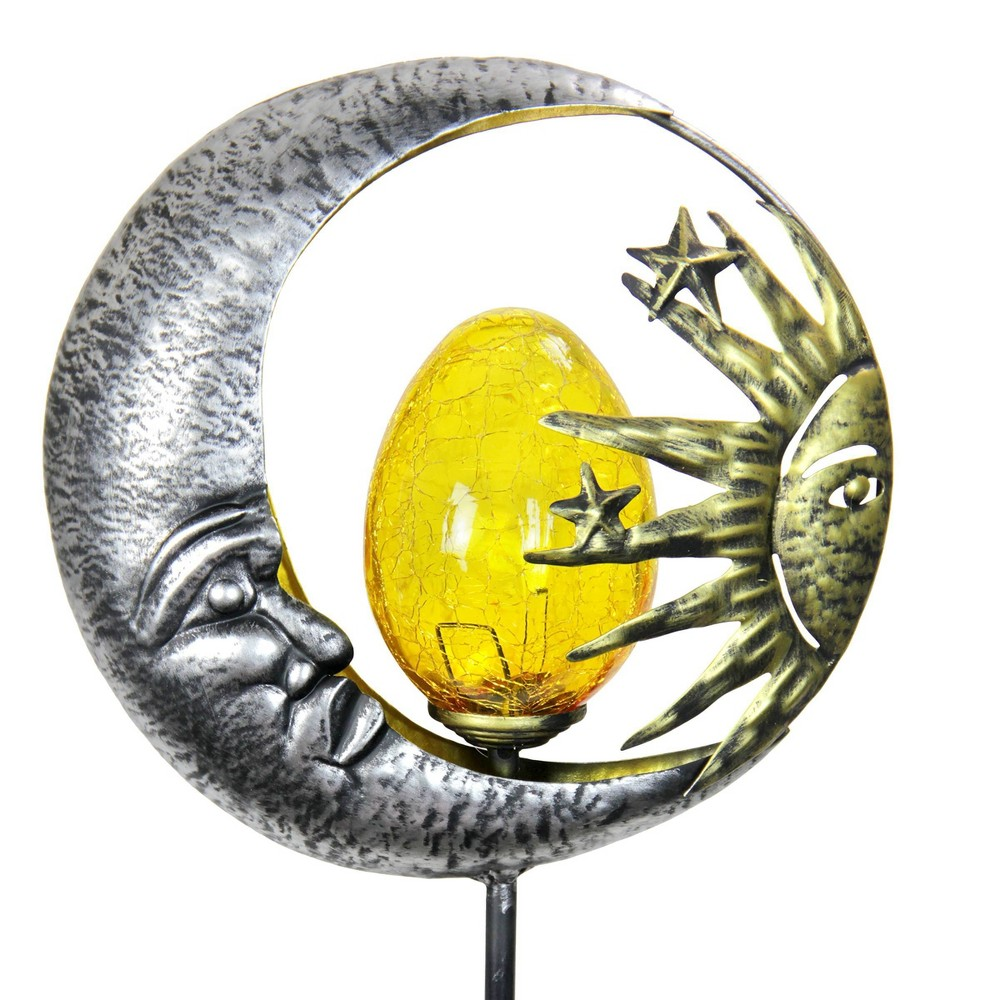 38 34 Metal Solar Sun And Moon Garden Stake Exhart