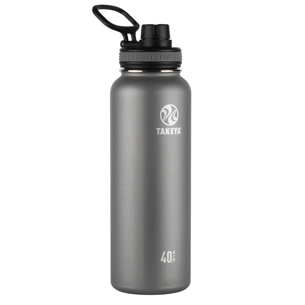 Takeya 40oz Originals Insulated Stainless Steel Water Bottle With Spout Lid Graphite
