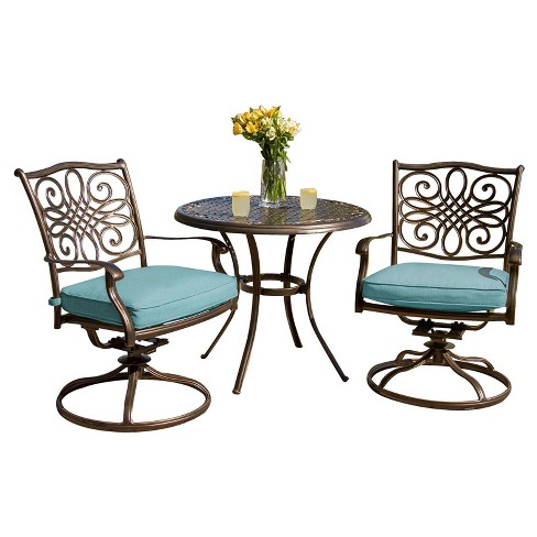 Seasons 3pc Round Metal Patio Bistro Set with Two Swivel Rockers - Blue - Hanover - image 1 of 6
