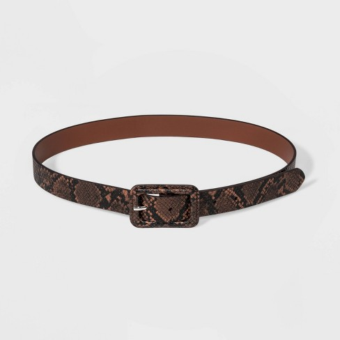 Women's Covered Buckle Snake Belt - Wild Fable™ Brown - image 1 of 2