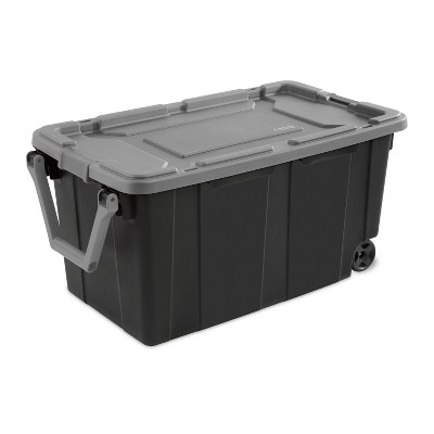 Sterilite 40gal Wheeled Industrial Tote With Gray Lid Red Latches And Handles
