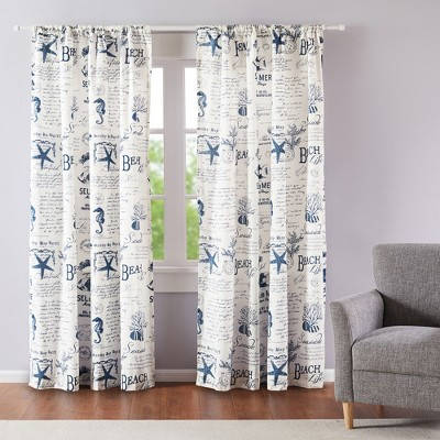 Beach Life Lined Curtain Panel with Rod Pocket - Levtex Home
