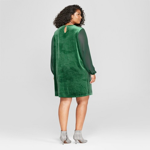 Womens Plus Size Chiffon Sleeve Velour Dress Ava Viv Green