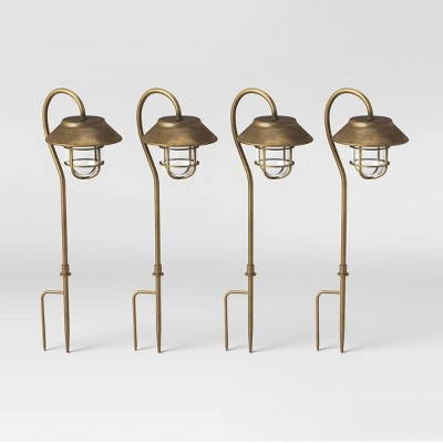 4pk Hooded Cage Hook Solar Pathway Lights with Remote Antique Brass - Smith & Hawken™