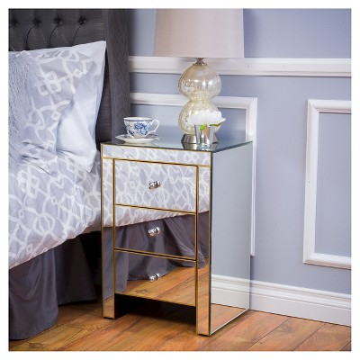 Ordinaire Lenorr Mirrored End Table   Gold   Christopher Knight Home : Target