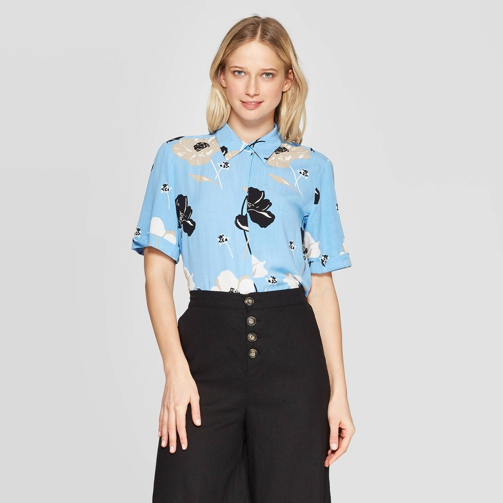 Women's Floral Print Short Sleeve Collared Shirt - Who What Wear Blue M