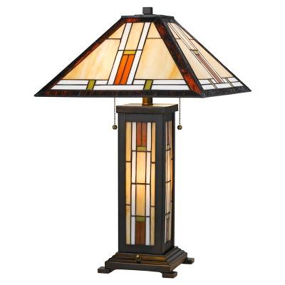 Tiffany Table Lamp With 7w Night Light 60w X 2 Black