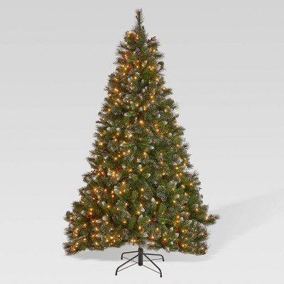 9ft Mixed Spruce Pre-Lit Hinged Full Artificial Christmas Tree with Glitter Branches Clear Lights - Christopher Knight Home