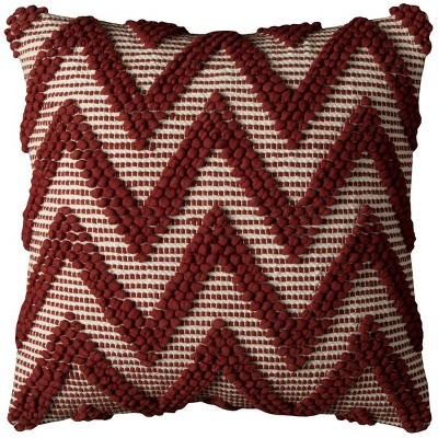 "20""x20"" Oversize Chevron Square Throw Pillow Cover Dark Red - Rizzy Home"