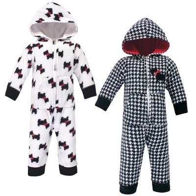 Hudson Baby Infant Girl Fleece Jumpsuits, Coveralls, and Playsuits 2pk, Scottie Dog