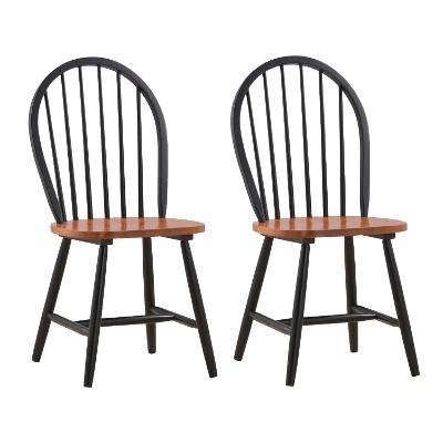 Set of 2 Windsor Dining Chair Wood/Black/Cherry - Boraam