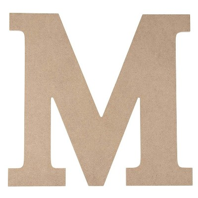 Juvale Unfinished Wood Letter M for Crafts and Wall Decor (12 in)