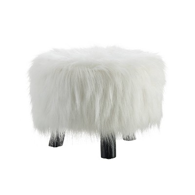 Faux Fur Foot Stool - Linon