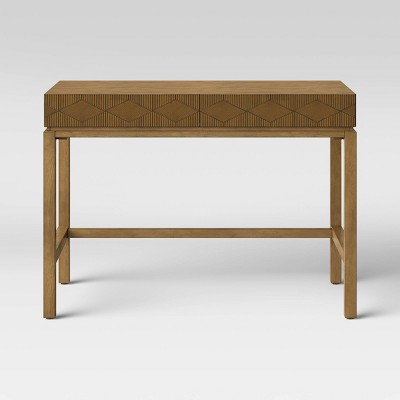 Tachuri Wood Writing Desk with Carved Drawers Brown - Opalhouse™