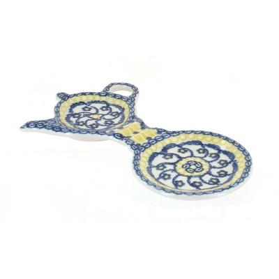 Blue Rose Polish Pottery Saffron Tea Bag Holder & Saucer
