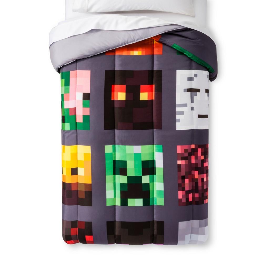 Image of Minecraft Good vs Evil Gray Comforter (Twin), Multicolored