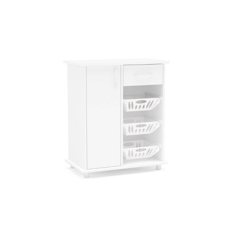 Morris Compact Fruit Cabinet W 3, White Storage Furniture With Baskets