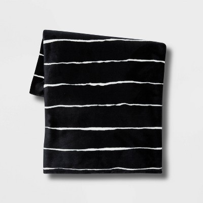 Thin Striped Printed Plush Throw Blanket Black - Room Essentials™