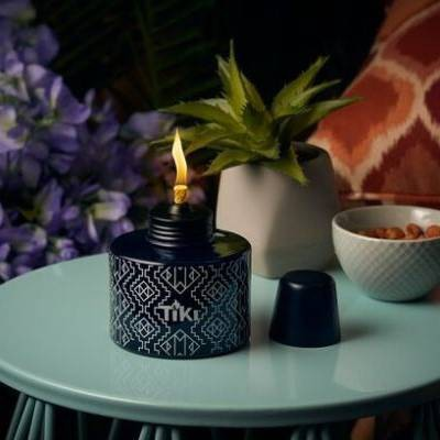 Painted Glass Table Torch & Trial Fuel Set Black Pattern - TIKI
