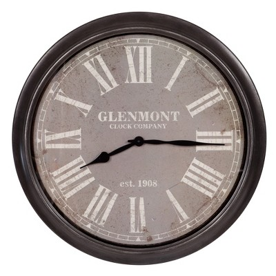 30  Glenmont Distressed Framed Wall Clock Black - Patton Wall Decor