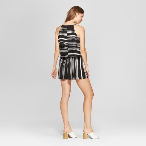 981d1c147d16 Women s Striped Print Halter Neck Romper - Spenser Jeremy - Black White    Target
