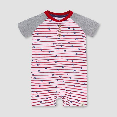 Burt's Bees Baby® Boys' Stars and Striped Henley Romper - Red