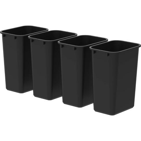 Storex 4pk Large/Tall Wastebaskets - Black - image 1 of 4