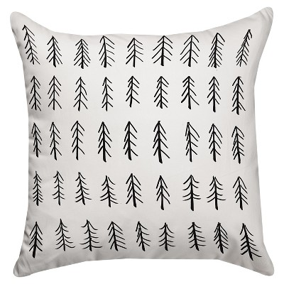 Black Little Tree Throw Pillow (18 x18 )Thumbprintz