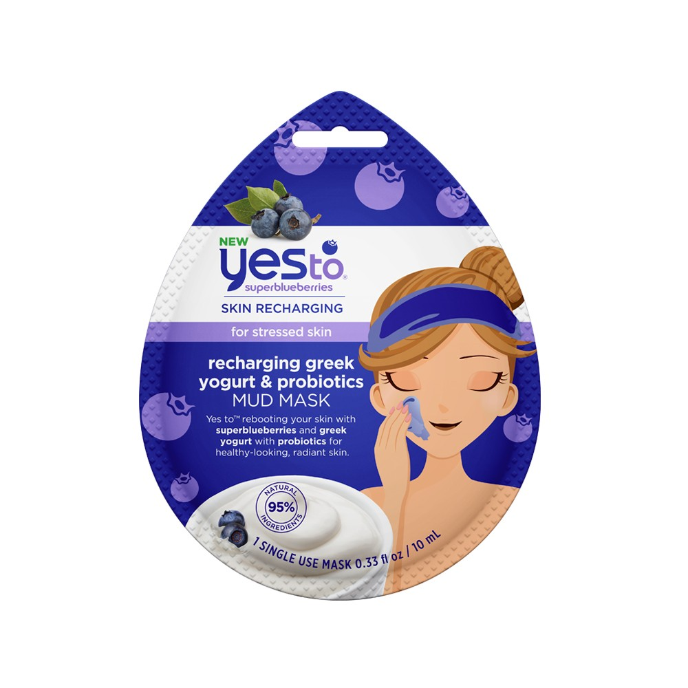 Yes To Super Blueberries Recharging Greek Yogurt Probiotics Mud Mask Single Use Facial Treatment