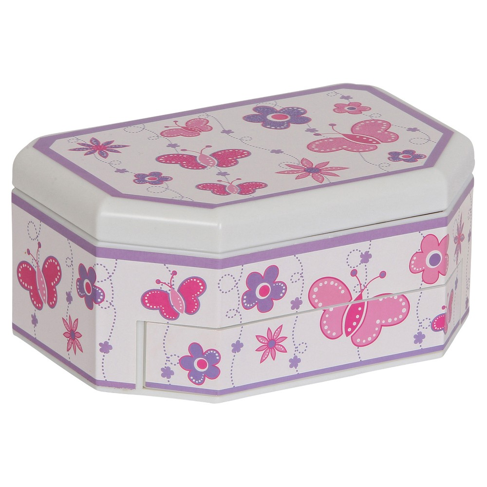 Mele & Co. Kelsey Girls' Glitter-Fly Musical Ballerina Jewelry Box - White Add a whimsical touch to your little one's room with the Mele and Co. Kelsey Girls' Glitter-Fly Musical Ballerina Jewelry Box in White. This jewelry box is so adorable and will help keep her jewelry and trinkets neat and organized. This well-designed box truly includes a place for everything–but what really makes it special is its dancing ballerina that twirls to the tune of  Swan Lake  when you open it. Gender: Female.